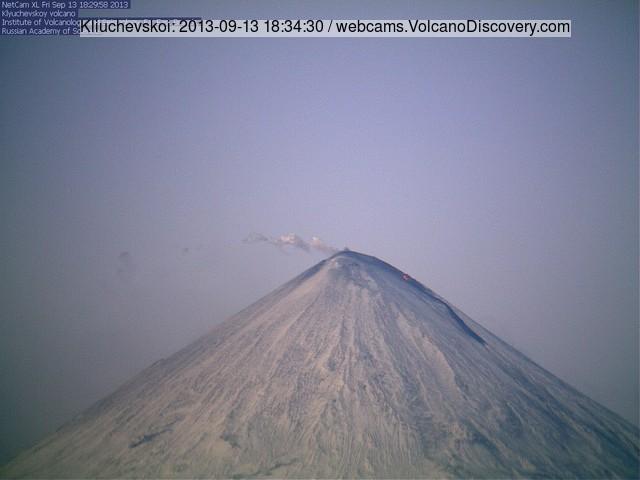 Klyuchevskoy volcano with the new lava flow last evening (KVERT webcam)
