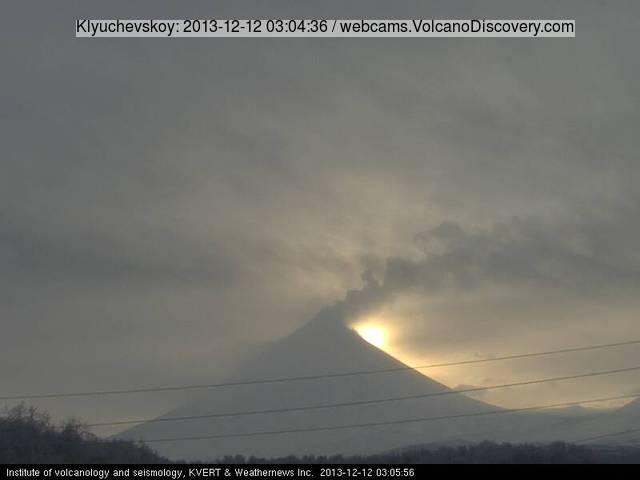 Ash emission from Klyuchevskoy volcano this morning