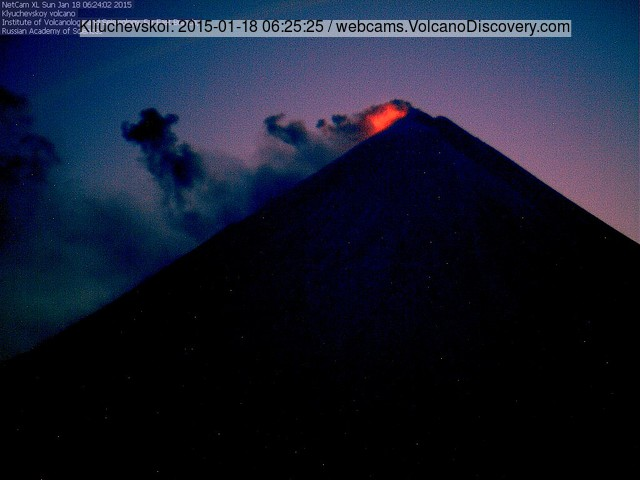 Strombolian activity at Klyuchevskoy at dusk (KVERT webcam)