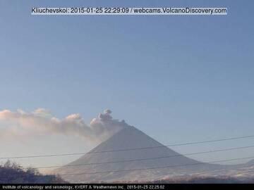 Ash plumes at Klyuchevkoy yesterday