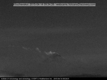 Weak steam / ash plume from Klyuchevskoy volcano today