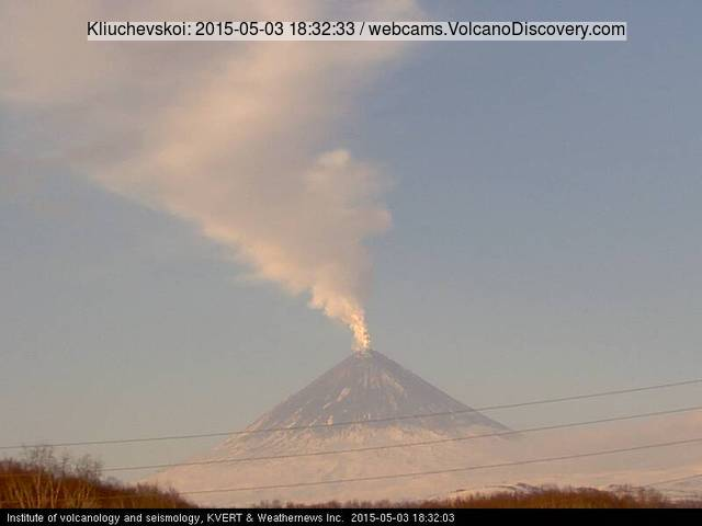 Steam and ash plume from Klyuchevskoy volcano today