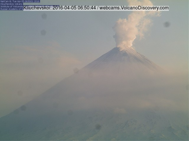 Steam plume from Klyuchevskoy volcano yesterday morning