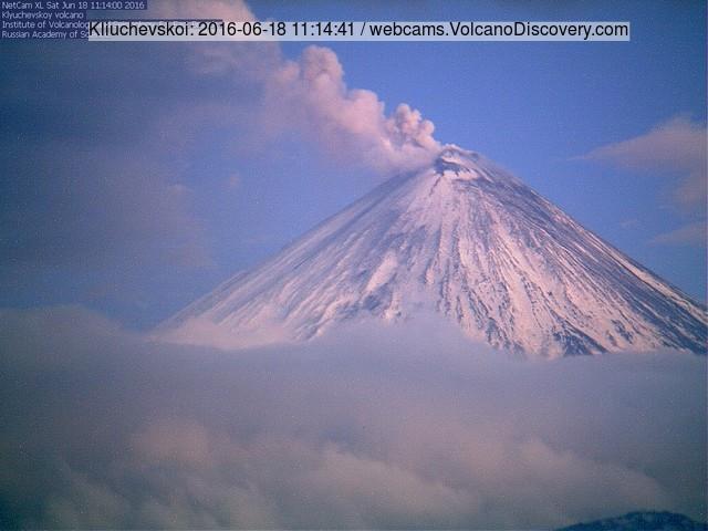 Steam and ash plumes from Kliuchevskoy volcano this morning (KVERT webcam)