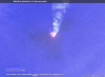 Sentinel 2 satellite image of Klyuchevskoy