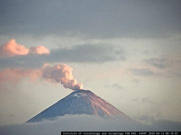 Ash plume from Klyuchevskoy volcano earlier today (image: KVERT webcam)