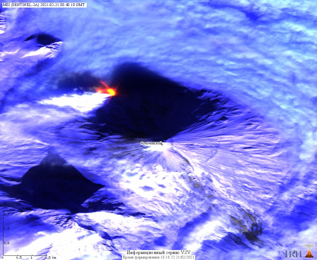 Satellite image of Klyuchevskoy volcano with the new eruption site on the NW flank (image: Sentinel/KVERT)