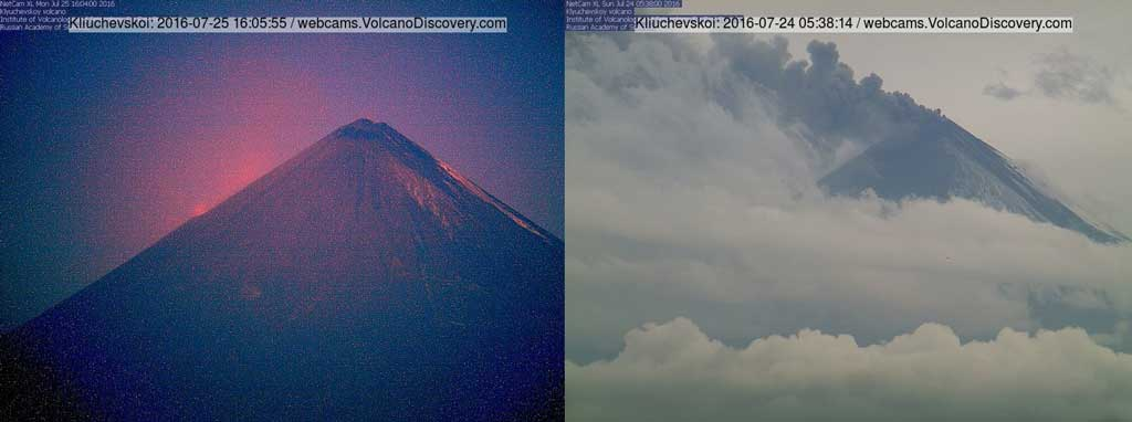 Klyuchevskoi volcano this afternoon (l, morning in Kamchatka) and yesterday with ash emissions