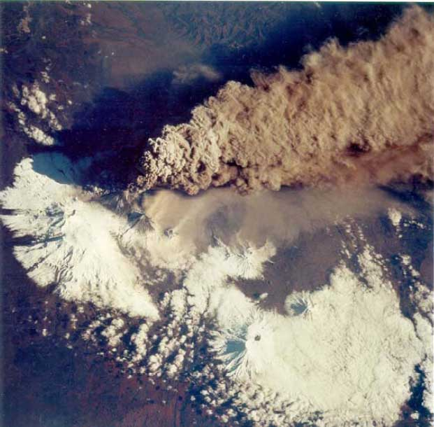 NASA photo of the eruption of Klyuchevsky volcano on 30 September, 1994, the volcano's largest explosion in 40 years. The large