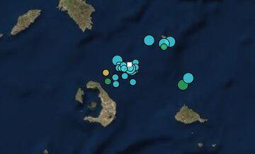 Recent earthquakes near Kolumbo volcano (image: facebook post by Gerasimos Papadopoulos)