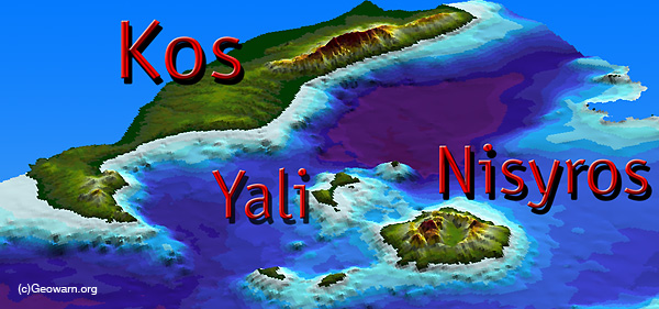Threedimensional image of the caldera of Cos with its volcanoes Yali & Nisyros