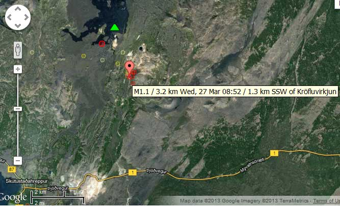 Map of recent earthquakes under Krafla volcano