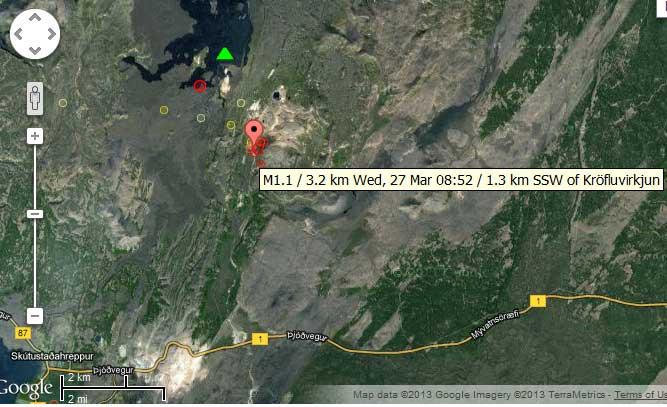Map of recent earthquakes under Krafla volcano