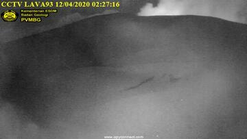 Incandescence from the active crater of Anak Krakatau (image: Magma Indonesia webcam)