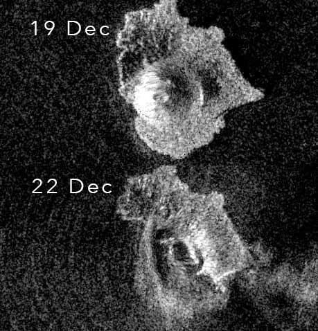 Comparison of Anak Krakatau before and after the flank collapse (image: Sentinel 1)