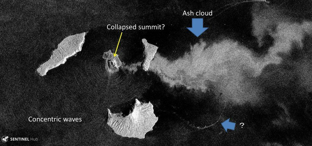 Satellite image taken yesterday after the collapse, possibly showing one of the tsunami waves (image: Sentinel 1, annotations by  R. Natsuaki @flyingwktk / twitter)