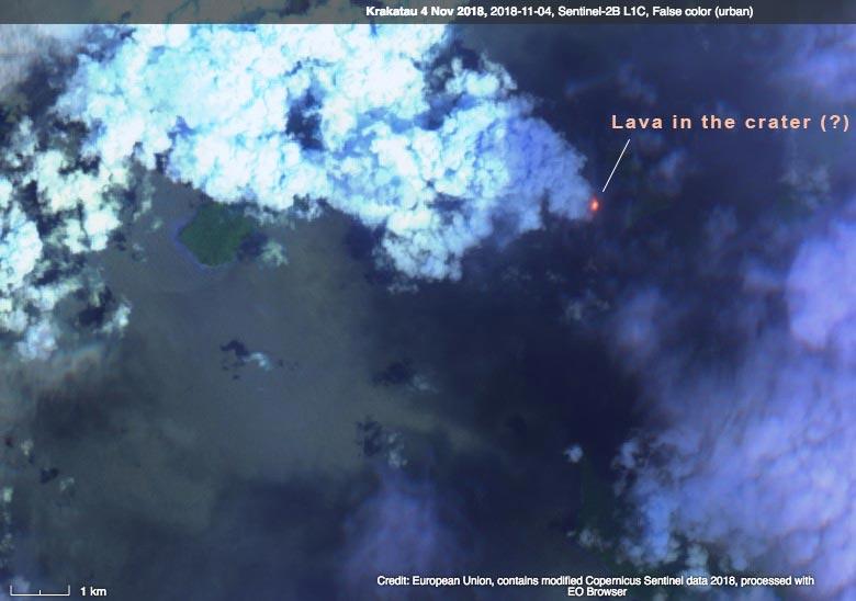 Sentinel-2 L1C image from 4 Nov 2018 showing lava in the summit crater of Anak Krakatau (image: Sentinel Hub / ESA)