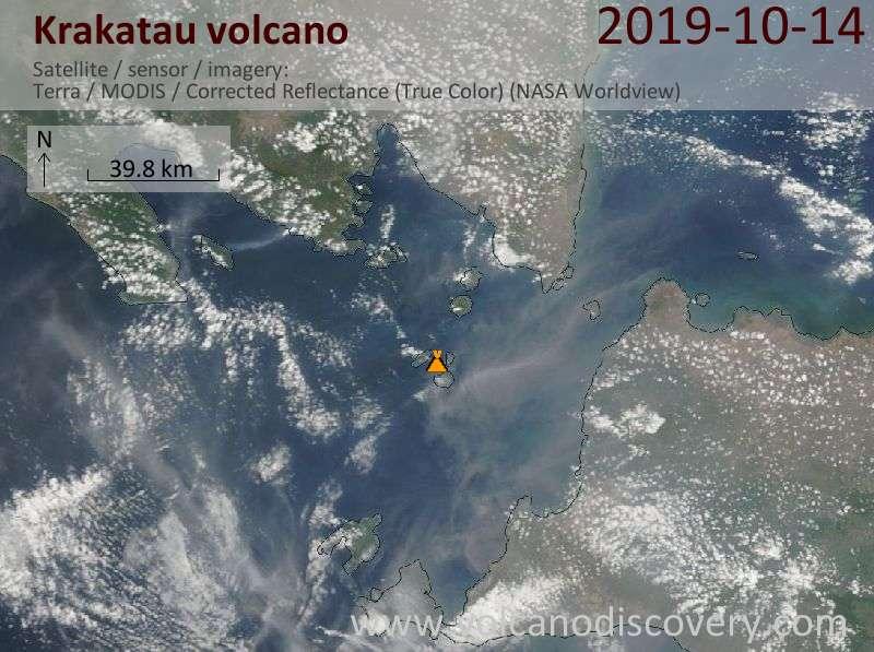 Satellite image of Krakatau volcano on 14 Oct 2019