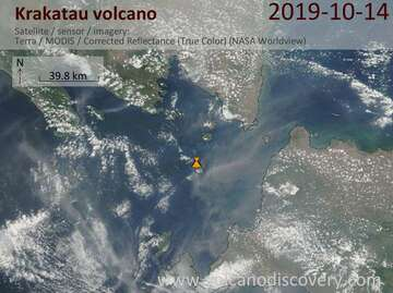 Satellite image of Krakatau volcano on 14 Oct 2019
