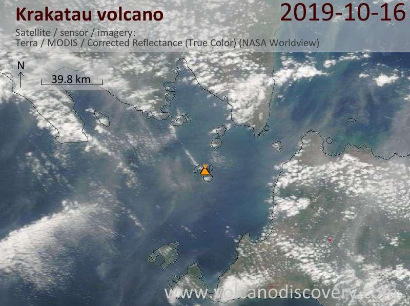 Satellite image of Krakatau volcano on 16 Oct 2019