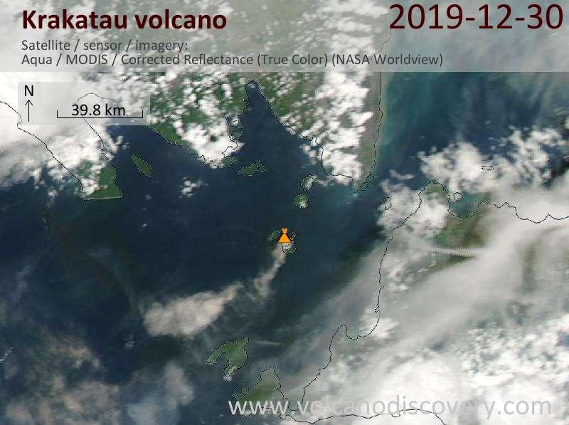 Satellitenbild des Krakatau Vulkans am 30 Dec 2019