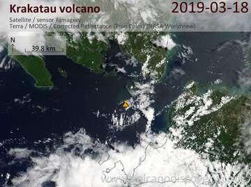 Satellite image of Krakatau volcano on 18 Mar 2019