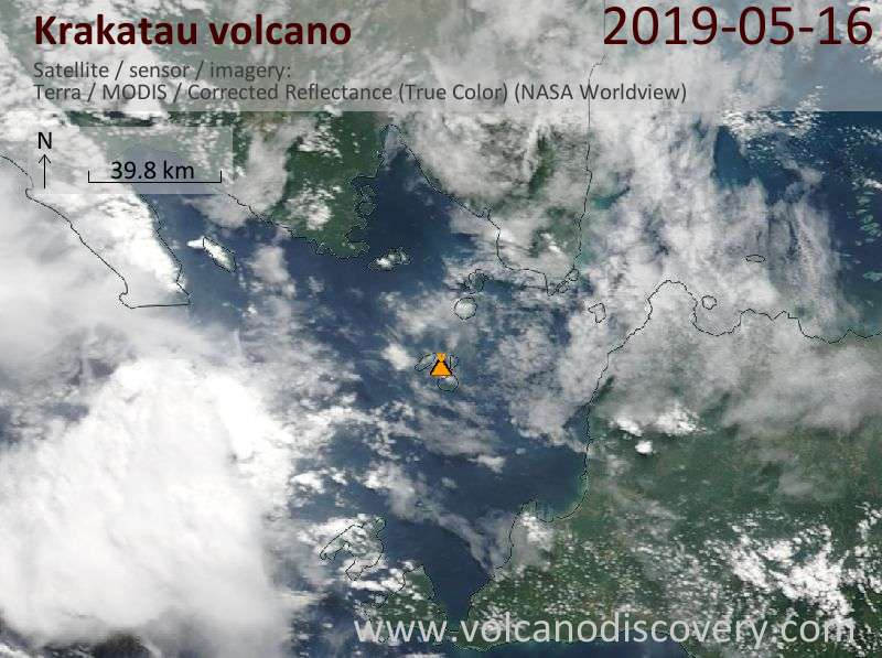 Satellite image of Krakatau volcano on 16 May 2019