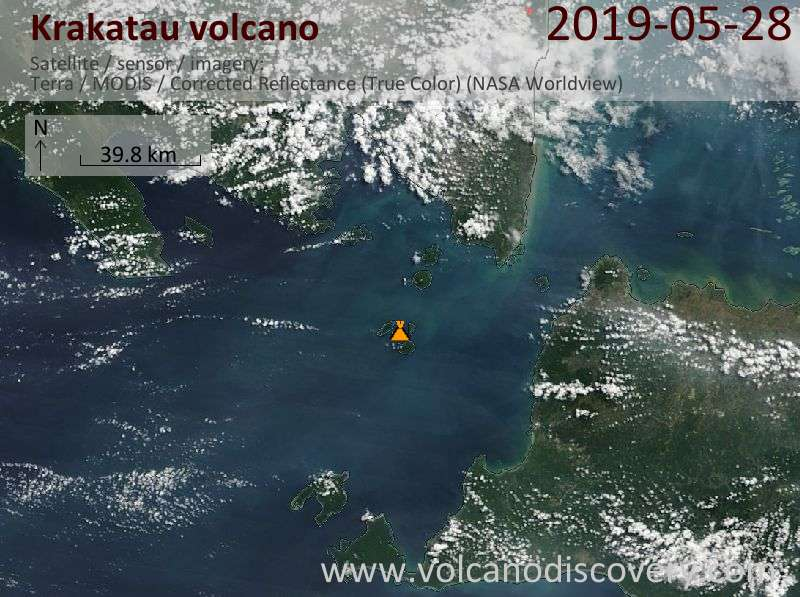 Satellite image of Krakatau volcano on 28 May 2019