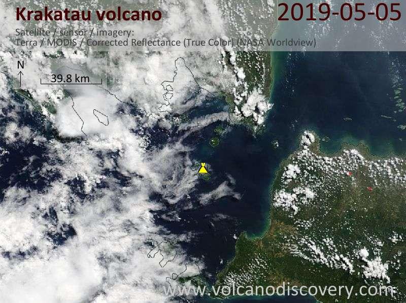 Satellite image of Krakatau volcano on  5 May 2019