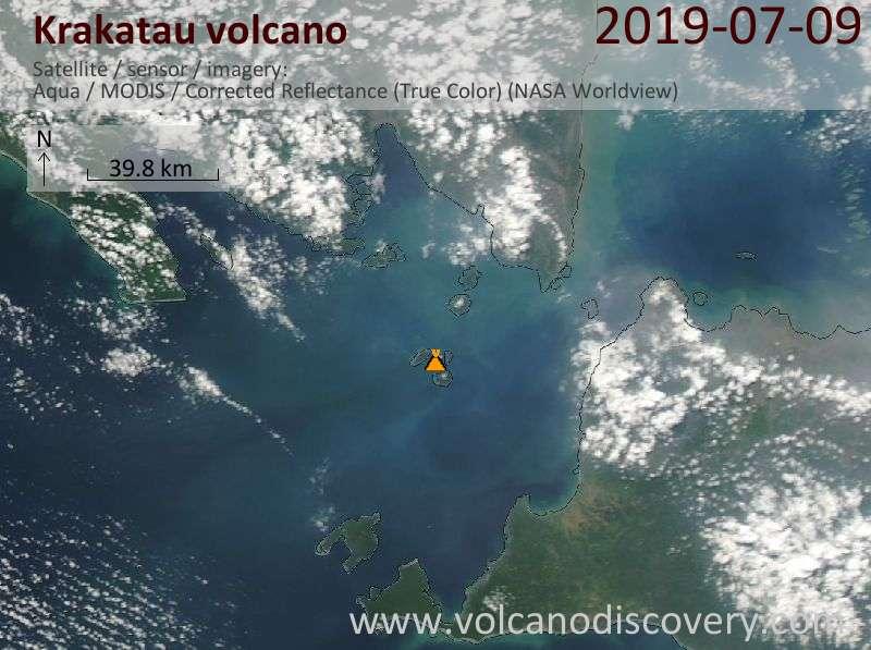 Satellite image of Krakatau volcano on 10 Jul 2019