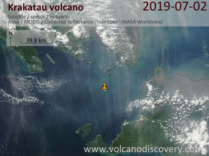 Satellite image of Krakatau volcano on  2 Jul 2019