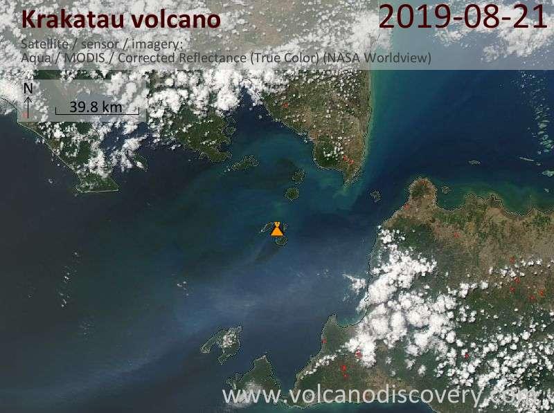 Satellite image of Krakatau volcano on 22 Aug 2019