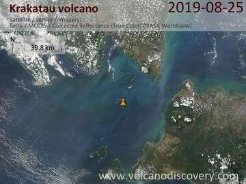 Satellite image of Krakatau volcano on 25 Aug 2019