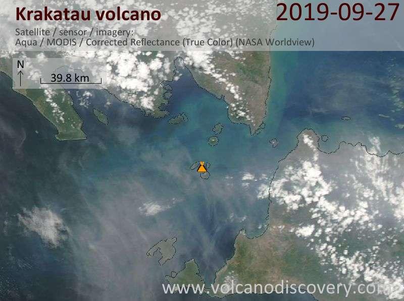 Satellite image of Krakatau volcano on 27 Sep 2019