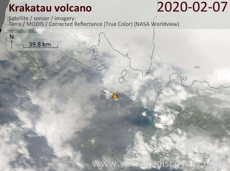 Satellite image of Krakatau volcano on  7 Feb 2020