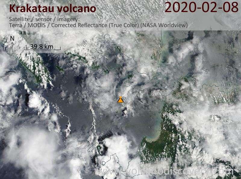Satellite image of Krakatau volcano on  8 Feb 2020