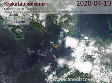 Satellite image of Krakatau volcano on 10 Apr 2020
