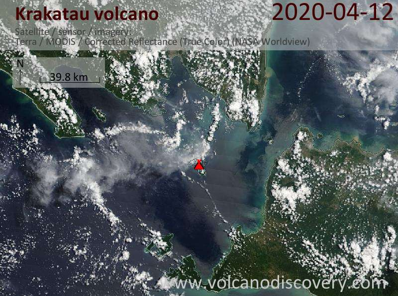 Satellite image of Krakatau volcano on 12 Apr 2020