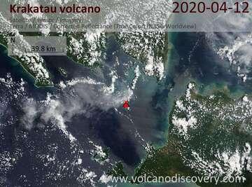 Satellite image of Krakatau volcano on 12 Apr 2020