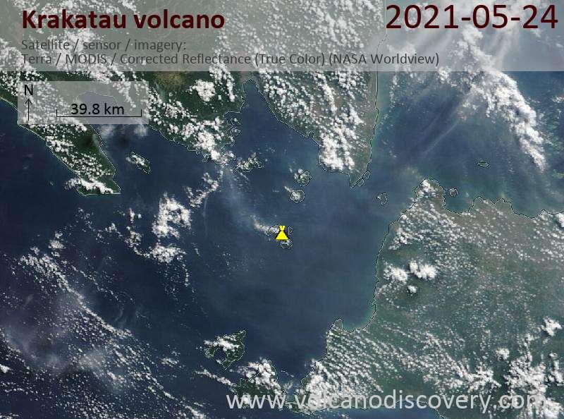 Satellite image of Krakatau volcano on 25 May 2021