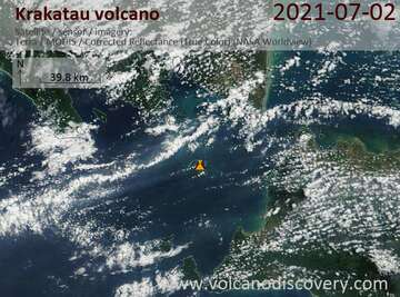 Satellite image of Krakatau volcano on  2 Jul 2021