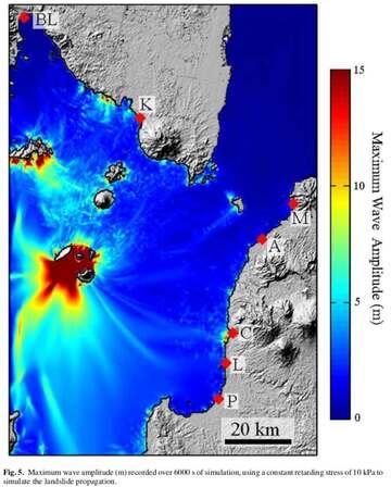 Model of the propapagion of the tsunami wave (image: Giachetti et al, 2012)