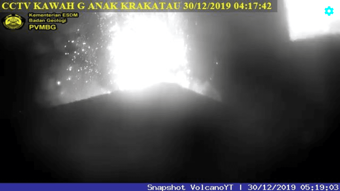 Strombolian eruption at Krakatau yesterday (image: PVMBG)