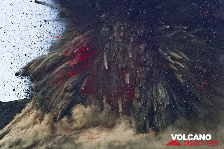 Explosive fragmentation of sticky, gas-rich magma erupted at Krakatau volcano, a typical subduction-zone volcano.