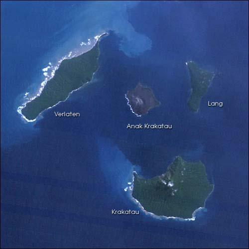 NASA satellite image of the island group of Krakatau.