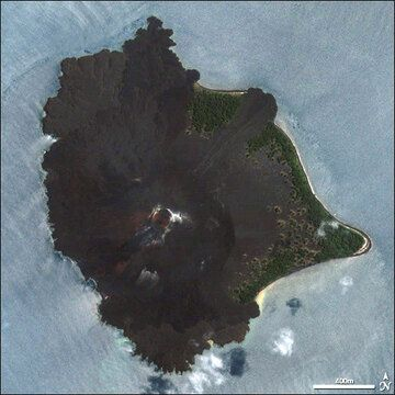 Close-up of Anak Krakatau volcanic island, with its recent lava flows well visible.