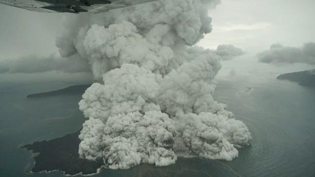 Steam and ash explosions at Krakatau seen this morning (Image: Dicky Adam Sidiq/kumparan)