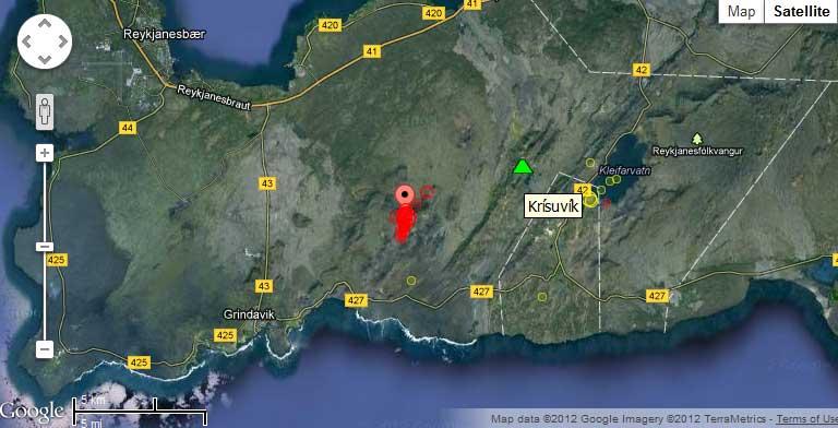 Location of the earthquake swarm near Krisuvik