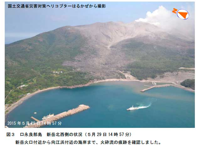 Aerial image of the harbour area of Kuchinoerabujima island hit by the pyroclastic flow (JMA)