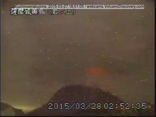 Glow from  Shin-Dake crater